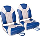 XGEAR Deluxe High Back Boat Seat, Fold-Down Fishing Boat Seat (2 Seats) (A-White/Grey/Blue)