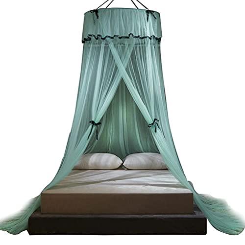 Srliya Mosquitera para cama, techo de 360 grados envolvente princesa Bowknot suelo, toldo de red para camas de niños, camas de niñas o camas de tamaño completo