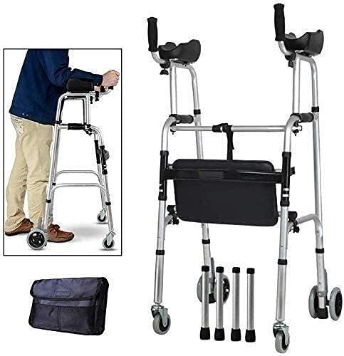 Wheeled Walker Postura vertical Rolling Walker con la almohadilla de apoyo del apoyabrazos, Rollator Médico de 4 ruedas, Ayuda para niños de edad avanzada utilizada para personas mayores, B plegable y