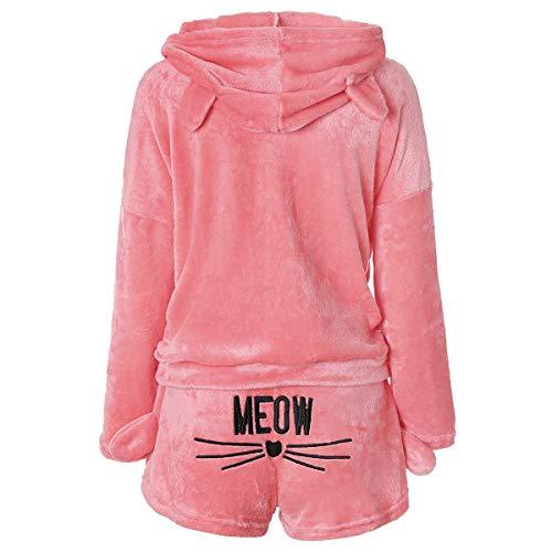 Damen Morgenmantel Zweiteilige Katzen Pyjamas Hoodie Nachthemd Langarm mit Kapuze Hosenanzug Süße Schlafanzug für Herbst Winter (L)