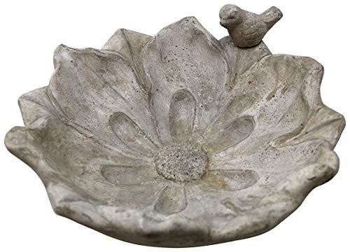 Vogeltränke Blüte mit Spatz, 26 x 9,5 cm, Vogel-Tränke Blume Trinkschale Vogelbad Garten