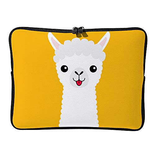 DKISEE Llama Alpaca Animal Face Neck Cute Cartoon Funny Laptop Sleeve for MacBook Air/MacBook Pro Compatible with 15 Inch Notebook Two way Zippers Laptop Carry Bag Case Cover