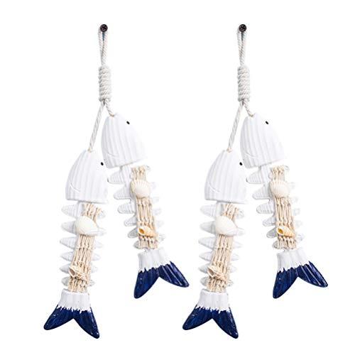 VOSAREA 2 Stücke Holz Deko Fische Holzfische Mittelmeer Maritime Wanddeko Mediterrane Hängedeko Nautische Geschenke Fisch Hänger für Taufe Kommunion Konfirmation Dekoration