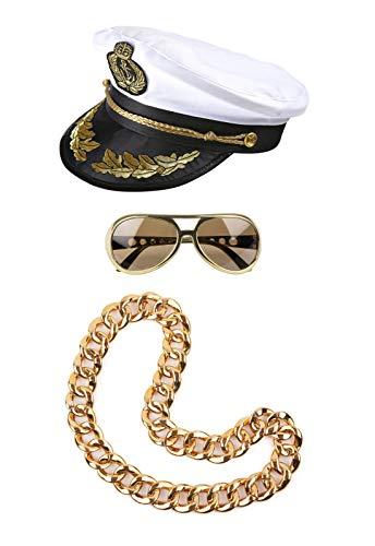 ® Party Set Mallorca Goldstrand Outfit 2019 Kapitän Mütze Goldkette Brille