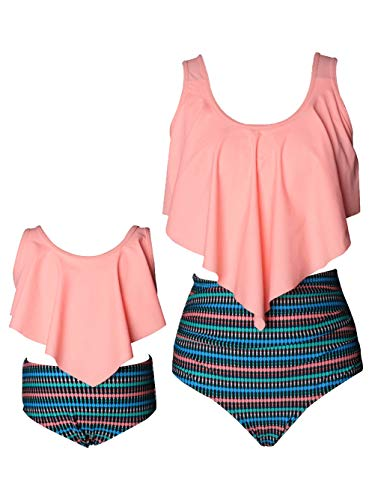 Kaei&Shi Mother Daughter Family Matching Swimsuits,Bow Tie Back Bathing Suit,Flounce Bikini Set,Ruched High Waisted Swimwear for Girl Coral Medium