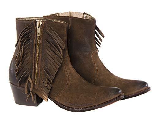 Sendra Boots Botín Western con Flecos 12096 Lia en Serraje marrón y Pelo Estampado Leopardo (40 EU)