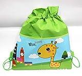 10pcs Kordelzug Taschen, Kreative Cartoon Giraffe Gymsack, Unisex Sackpack, Casual Rucksack, Sport Ausrüstung Tasche Reisetaschen-Green