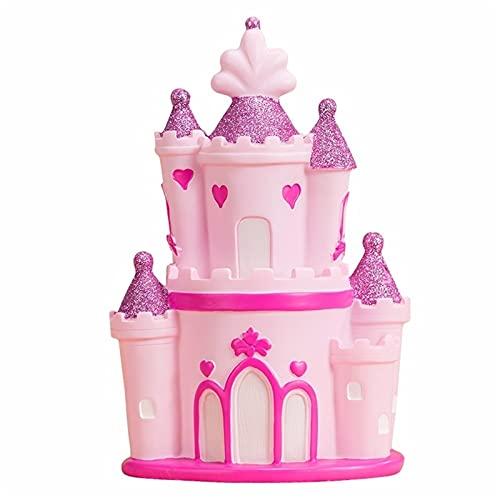 """JINGER Castillo Pink Castle Hucha, Caja De Ahorro De Dinero De Dinero Creativo para Niños, para Cumpleaños De Niñas, Navidad Y Regalo del Día De Los Niños, 5.51""""x 4.13"""" X 9.44"""" (Color : In and out)"""