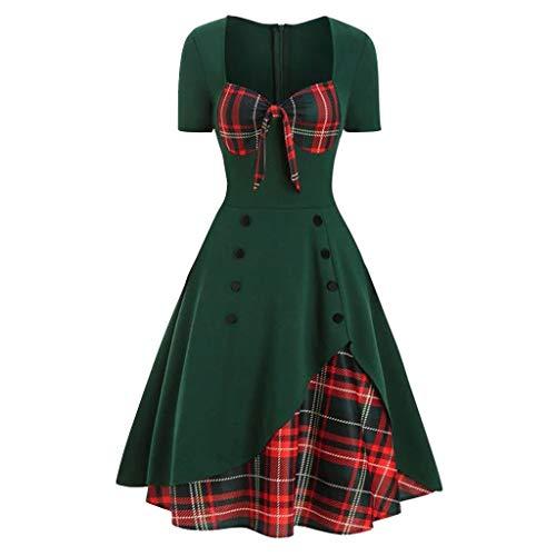 Kanpola 2020 Mujer Pañuelo de Panel de Cuadros Escoceses Pajarita Vintage Rockabilly Style A Line Dress