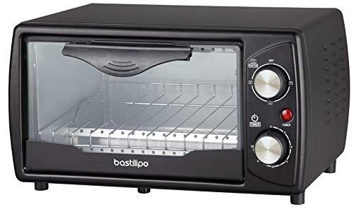 Bastilipo Black Mini Horno Tostador Turin, 1000 W, 9 litros, Acero inoxidable, Negro