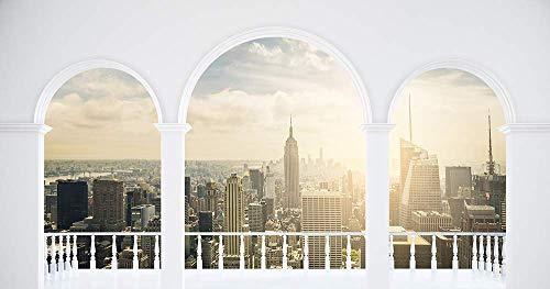 Hochwertige Fototapete - New York Fensterausblick (Selbstklebende Vlies-Fototapete) 450 x 210 cm