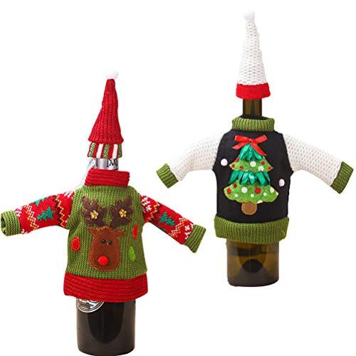 Kousa Funda para botella de vino de Navidad, 2 unidades, diseño de alce de Navidad, árbol de Navidad, de punto, de lana, para botellas de vino, mesa de comedor, decoración de fiesta de Navidad