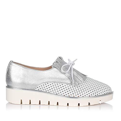 MARIA JAEN 8022 Zapato Flecos Piel Mujer Blanco 39