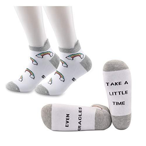 JXGZSO IVF/ IUI Rainbow Baby socks Fertility Journey Transfer socks - Even Miracles Take a Little Time Socks IVF Gift (Even Miracles Ankle Socks)