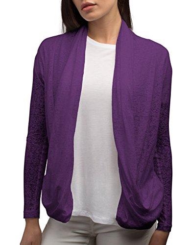 SCOTTeVEST Women Lucy Cardigan - Travel Clothing for Women - Sheer Cardigan (VIO XL) Violet