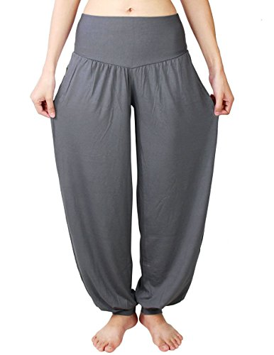 HOEREV Brand Super Soft Modal Spandex Harem Yoga Pilates Pants,Darkgrey,XX-Large