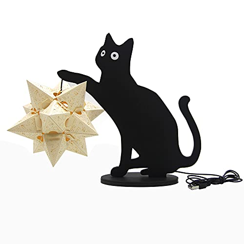 conpoir Lámpara de Tallado de Papel estereoscópico 3D DIY, lámpara de Escritorio Led, lámpara de Mesa pequeña casera, Mini Dormitorio Creativo, lámpara de Noche, Estilo 1