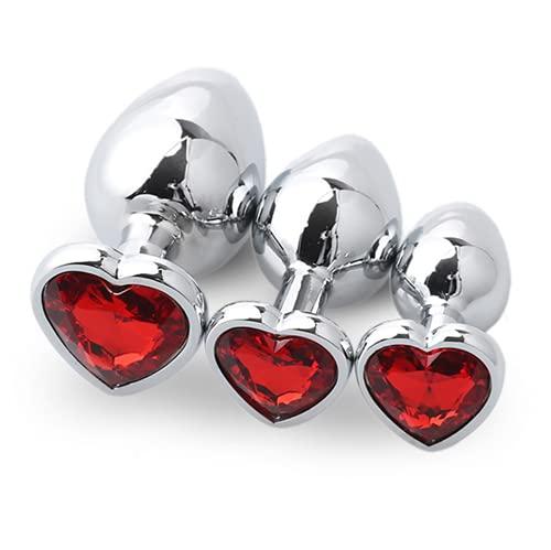Conjunto de 3 piezas de acero inoxidable con diamantes de color rojo con forma de corazón y piedra de metal de base de madera