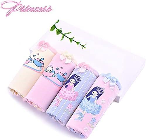 U/D Girls' Underwear for Girls, 4-Pack Cotton mid-Waist Triangle Underwear for Girls