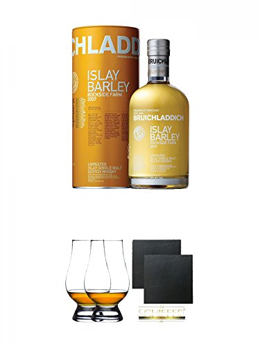 Bruichladdich 2009 Islay Barley Rockside Farm Unpeated Islay Single Malt Whisky 0,7 Liter + The Glencairn Glass Whisky Glas Stölzle 2 Stück + Schiefer Glasuntersetzer eckig ca. 9,5 cm Ø 2 Stück