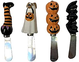 Stainless Steel Halloween Cheese Spreaders Set of 4 Witch, Ghost Dog, Pumpkins, and Bat