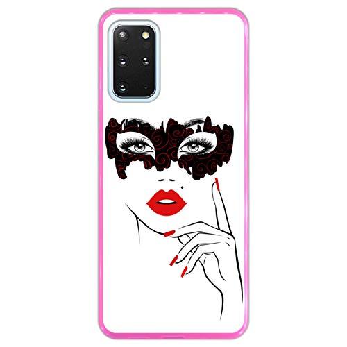 Telefoonhoesje voor [ Samsung Galaxy S20+ - S20+ 5G ] tekening [ Vermommingspartij, Mooi vrouwengezicht met rode lippen ] Roze TPU flexibele siliconen schaal