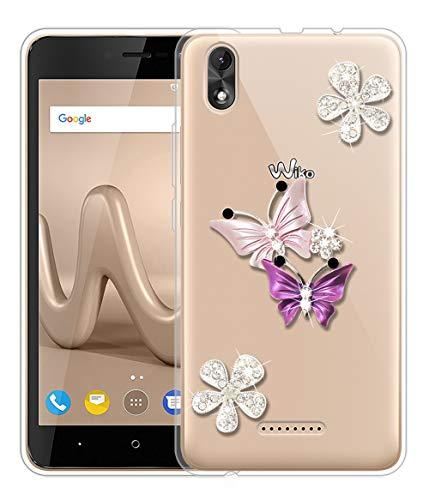 Sunrive Für Wiko Lenny 4 Plus Hülle Silikon, Glitzer Diamant Strass Transparent Handyhülle Schutzhülle 3D Etui handycase Hülle (Schmetterling 2) MEHRWEG