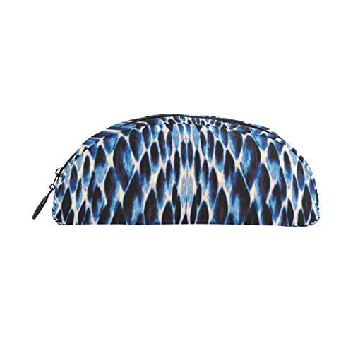 Estuche grande para lápices Azul Blanco Negro Textura de piel de serpiente Bolígrafo Organizador Estuche para lápices Bolsa con cremallera Para estudiantes Clase Niños Niño Niña Escuela Bolso