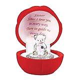 Online Street, orsacchiotto in vetro di cristallo, regalo per sorella, orsacchiotto con cuore rosso per matrimonio, anniversario, compleanno, regalo con rosa