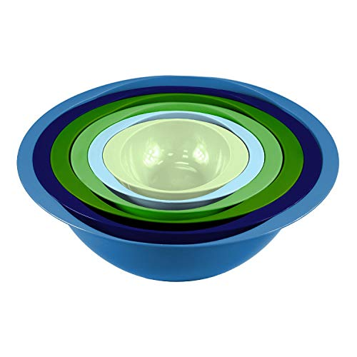 Colourful 6PC Nesting Plastic Mixing Bowls Set with Easy Grip Handles: 5.7L, 3.8L, 2.4L, 1.4L, 710ml & 295ml - Style 1