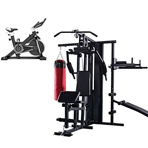 EIU Multi Gym Workout Station With Exercise Bike,home Gym Total-body Workout   Multifunctional Workout Three People Station,Sandbag, Pull-ups, Supine Board(200kg Black Red )