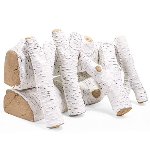 Amazing Deal Barton Ceramic Wood Fireplace Decoration 6-Piece of Ceramic Birch Wood Fireplace Log Ga...