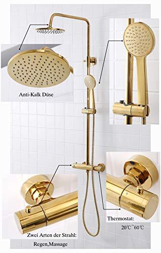 SCHWÄNLEIN Sistema de ducha antical con termostato, ducha de lluvia, grifo de...
