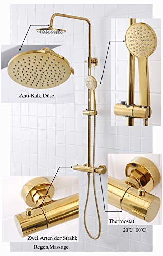 SCHWANLEIN - Sistema doccia anticalcare con termostato, doccia a pioggia, set doccia con colonna doccia, in ottone dorato