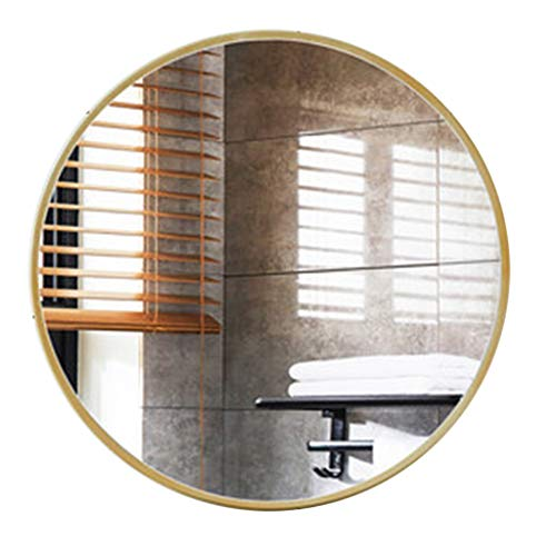 Gouden ronde badkamer muur spiegel ijzer rand decoratieve hal woonkamer make-up ijdelheid scheren muur gemonteerde spiegels (19.7 Inch-31.5 Inch)