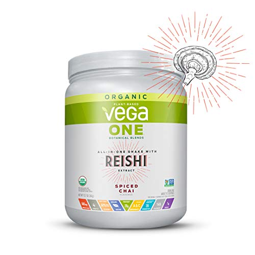 Vega One Organic Botanical Blends Spiced Chai with Reishi (10 Servings, 12.7 oz) - Plant Based Vegan Protein Powder, Non Dairy, Gluten Free, Non GMO