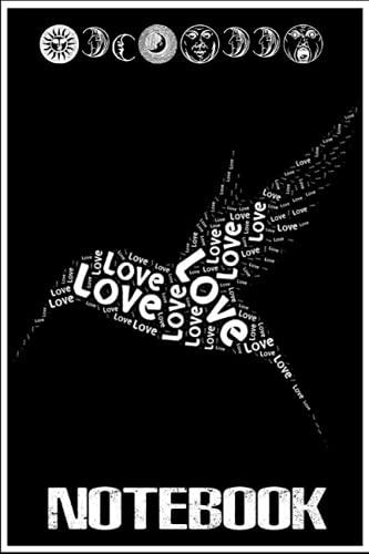 Notebook: Love Hummingbirds Word Cloud Bird Lover Gift Idea Wildlife Premium notebook 6x9 inch by Jerrie Sun