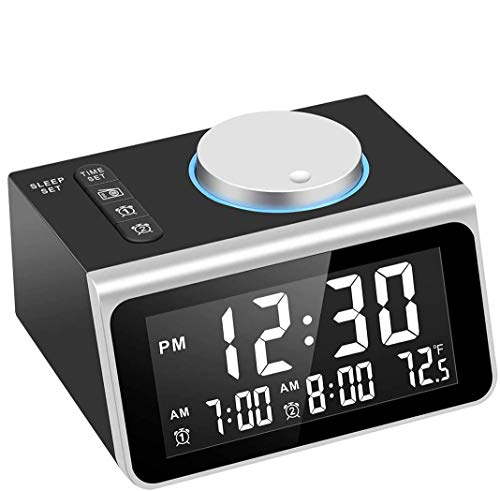 Dekala Digital Alarm Clock Radio, Dual Alarm with Snooze Function, Temperature Display, 7 Alarm Sounds, 2 USB Charging Ports, FM Radio Clock w/Battery Backup for Bedrooms, Office, Desk