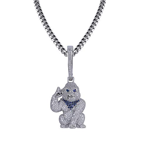 GUCY Hip Hop Jewelry Big Monkey Silver Pendant Necklace Animal Pendant Necklace for Men Stainless Steel Rope Chain(Silver)