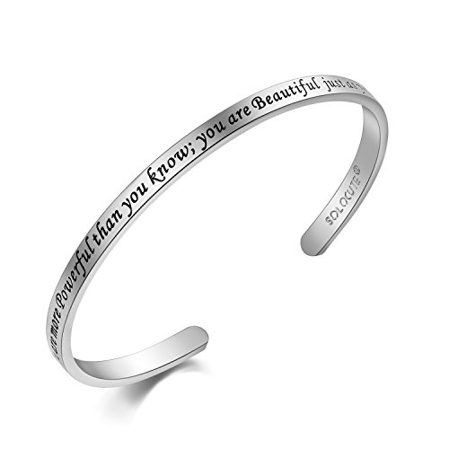 Solocute Damen Armband mit Gravur You Are More Powerfulthan You Know; You Are Beautiful just as You Are. Inspiration Frauen Armreif Schmuck