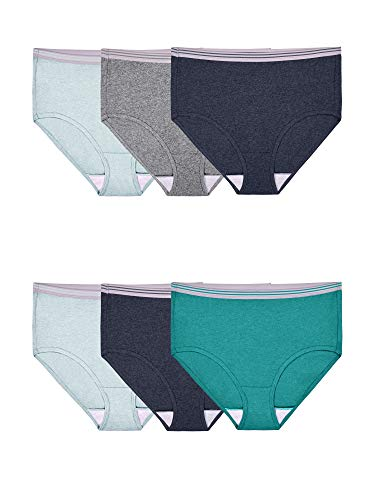 Fruit of the Loom Women's Tag Free Cotton Panties (Regular & Plus Size), Brief-6 Pack-Assorted Heathers, 8