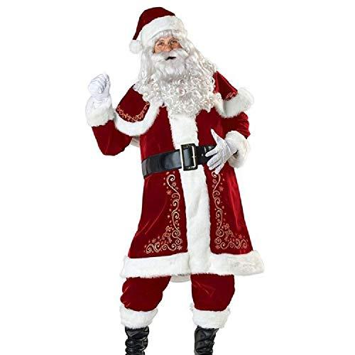 Whale city Vestito da Babbo Natale in Peluche per Adulti Costume da Festa in Costume, Deluxe, Addensare (Uomini, XXXL)