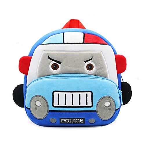 Lazeny Mochila para Niños Linda Auto Preescolar Bolso Escolar, Dibujos Animados Felpa Primaria Pequeña Guardería Mochila, Chico Chica Bebe Mochila para 2-6 años (Coche Policía Azul)