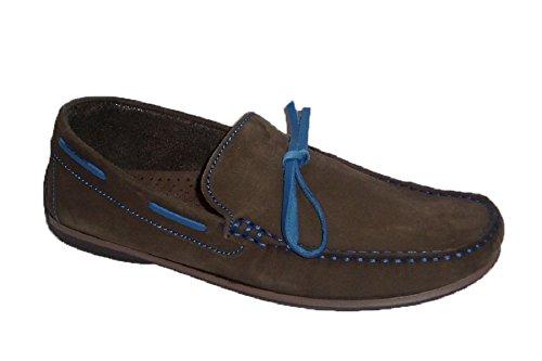 VITELO K101 Mocasín Hombre Nobuck marrón con pasados y Lazo Azul