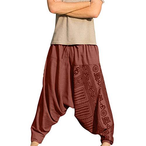 EUCoo Pantalons Longs imprimés décontractés pour Hommes Pantalons de nationalité de Grande Taille Pantalons(Orange,XXXXL)