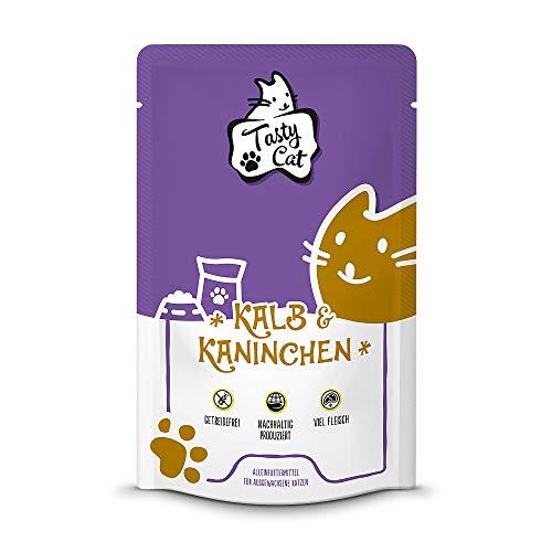 Tasty Cat Nassfutter für Katzen Kalb & Kaninchen 12 x 125g. | getreidefrei | zuckerfrei