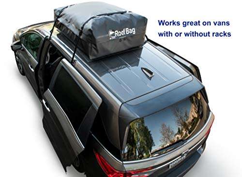 RoofBag Waterproof   Made in USA   1 Year Warranty   Fits ALL Cars: With Side Rails, Cross Bars or No Rack   Car Top Carrier includes Heavy Duty Straps