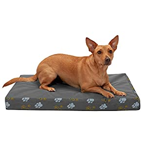 Furhaven Pet Dog Bed – Deluxe Memory Foam Mat Water-Resistant Indoor-Outdoor Garden Traditional Foam Mattress Pet Bed with Removable Cover for Dogs and Cats, Iron Gate, Medium