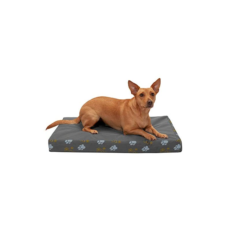 dog supplies online furhaven pet dog bed - deluxe memory foam mat water-resistant indoor-outdoor garden traditional foam mattress pet bed with removable cover for dogs and cats, iron gate, medium