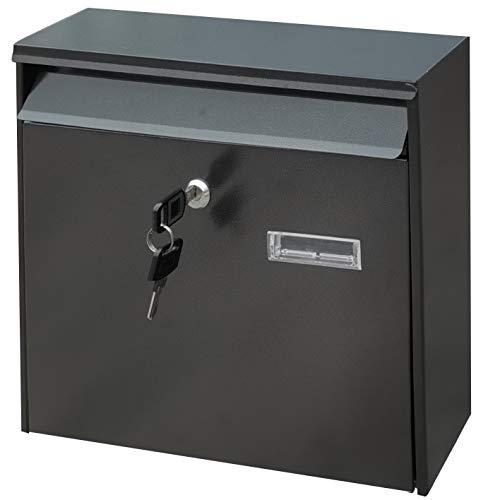 Freletry メールボッ ポスト キーロック 大型 郵便受け 壁掛け 鍵付きスチール樹脂塗装 (ブラック 36 * 10 * 32cm)